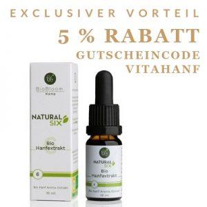 5 % Rabatt mit dem Gutscheincode vitahanf bei BioBloom.
