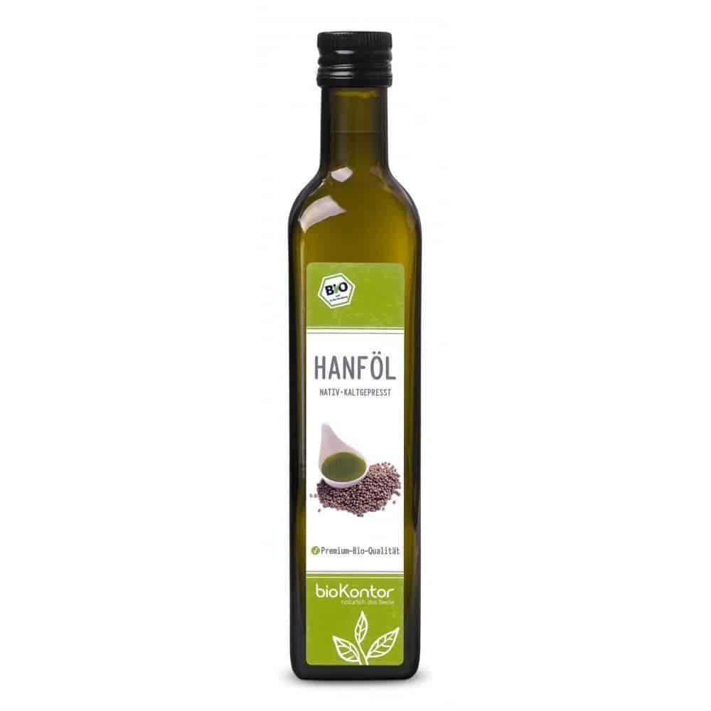 Eine Flasche Hanföl von bioKontor.