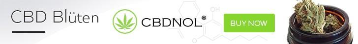 CBDNOL Banner mit Blüten und Kaufbutton.