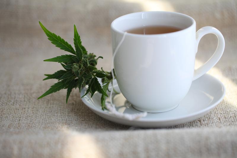 Eine Tasse Hantee in einer weißen Tasse auf deinem weißen Teller mit einer Hanfblüte.